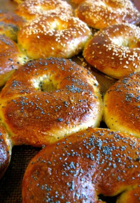 stap 4 : bak de bagels gaar in een voorverwarmde oven à 180°C gedurende 12 minuten. Laat afkoelen op een gril.
