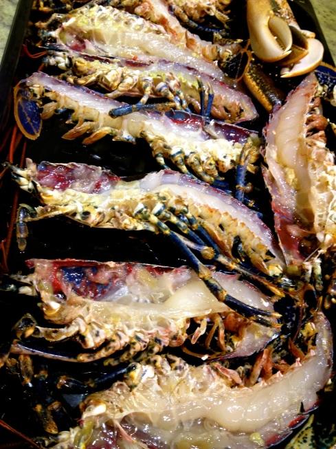heerlijke blauwe Bretoense kreeft tijdens het kookatelier