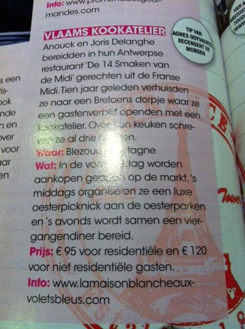 Wat een plezierige verrassing ! Artikel over onze kookatelier door De Morgen food journalist Agnes Goyvaerts in het net verschenen culinaire tijdschrift Njam. I like !