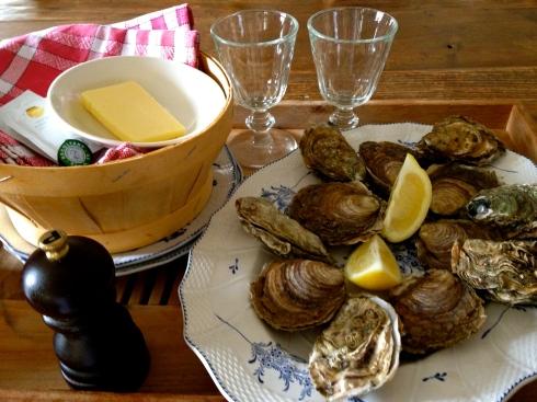 Sommige van onze gasten zijn naar het zuiden van de Golfe du Morbihan op ontdekkingstocht. De Canadezen zijn naar het bos van Lannouée aan het fietsen. En nog anderen zitten in de tuin met een lekkere oestertjes voor de lunch ! Ondertussen zijn wij in weer met st jakobsvruchten, varkenspoot, konijn, volle melk, knolselder, broccoli, rauwmelkse koekaas, aardbeien en hazelnoten voor het diner vanavond. Bon appétit !!