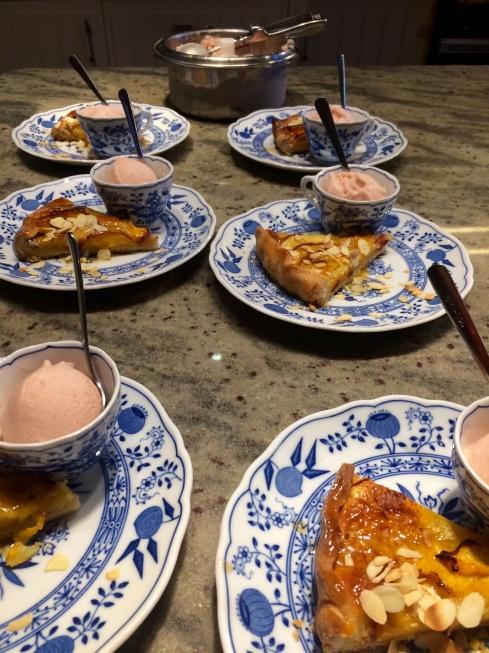 Perziken taart met sorbet van Ankerbier Boscoli.