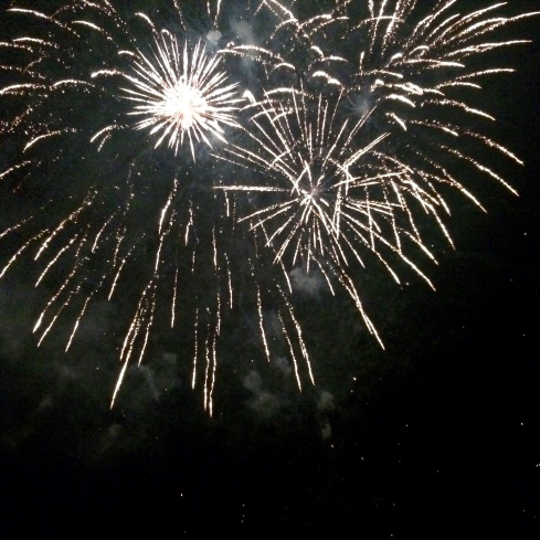Prachtig vuurwerk ik Rohan ter gelegenheid van Le 14 Juillet.  Anouck vanuit www.lamaisonblancheauxvoletsbleus.com